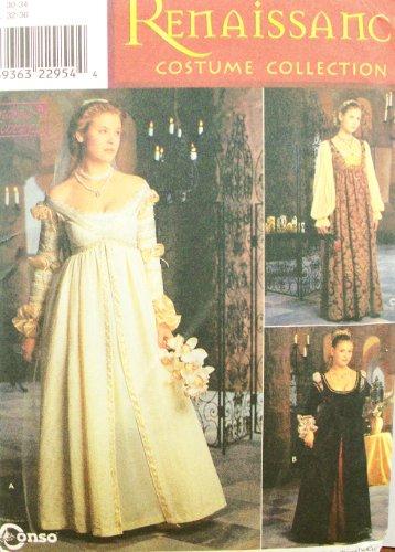 OOP Simplicity Renaissance Costume Pattern 8735. Misses Szs 4;6;8 Gowns & Cap