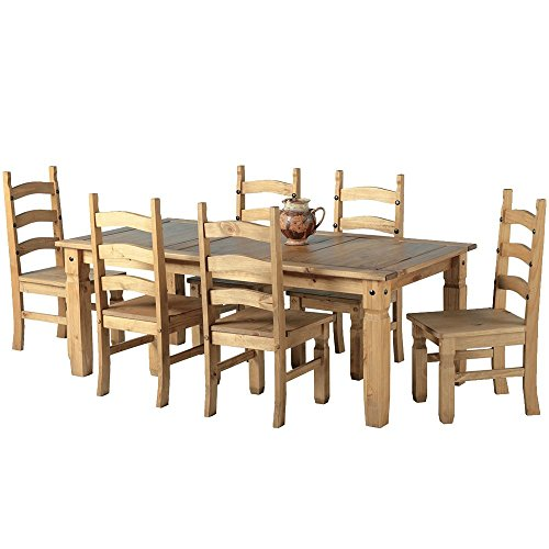 mexican-corona-6ft-pine-70-dining-table-set-6-chairs-antique-waxed-by-mexican-corona