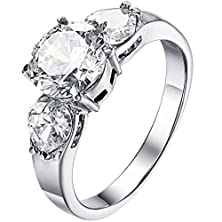 buy Stainless Steel Cz Inlaid Women'S Wedding Ring Silver Aooaz Jewelry