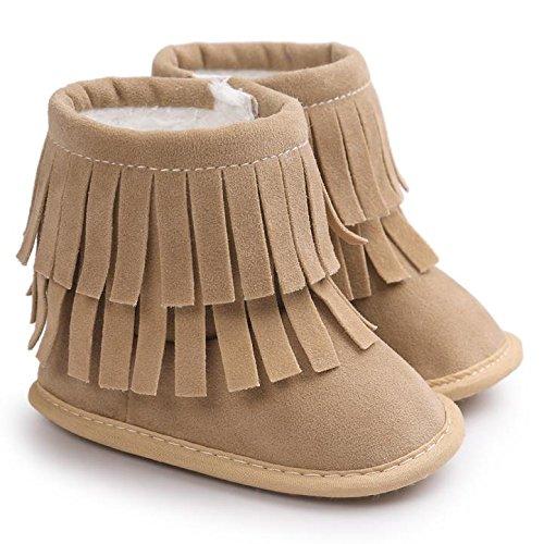Voberry Baby Toddler Girls Boys Winter Warm Snow Boot Tassels Trimmed Boots Outdoor (6~12Month, light Khaki)