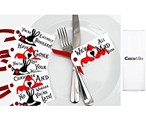 10 x Coco&Bo - Alice in Wonderland - Tea Party Table Tags - Queen of Hearts Mad Hatters Tea Party Table Decorations