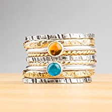 buy Set Of 9 Stacking Rings - Mixed Metal Blue Apatite And Yellow Citrine Gemstone Stackable Stack Rings In Sterling Silver And 14K Gold Fill
