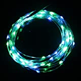 YAHO-MALL Warm White Green Pink Cool white Purple Red Blue Yellow Copper LED Lights Strings Starry Starry Lights Fairy lights Ultra Thin String Wire Potted plants LED Lights Strings for Valentine's Day Birthday Festival Kid's LED Gift AA Battery Operated or USB Powered - DIY LED Starry Lights (Blue Green)