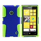 MINITURTLE, Premium 2 in 1 Double Layer Perforated Hard Hybrid Phone Case Cover, Clear Screen Protector Film, and Stylus Pen for Windows 8 Smartphone Nokia Lumia 520 /AT&T (Blue / Green)