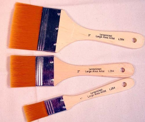 3 Large Area Gold Taklon Paint Brushes -Great for Acrylics, Stains & More