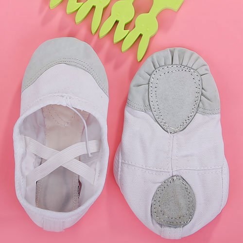 Canvas Ballet Dance Shoes Slippers for Kids US Size 11# (6 2/3 Inch) - White