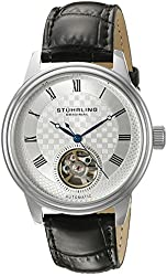 Stuhrling Original Men's 'Legacy' Stainless Steel and Black Leather Automatic Watch (Model: 780.01)