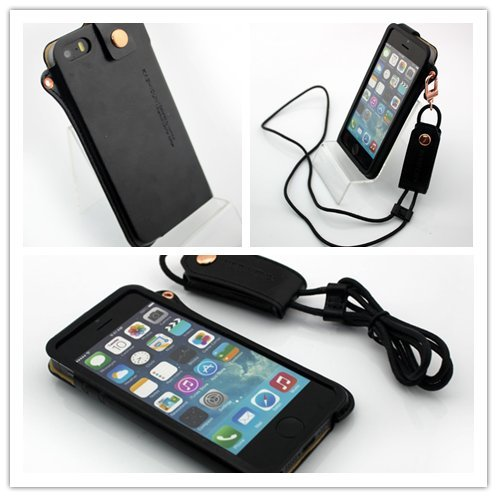 Nine States Ultra-Thin Pu Leather Back Cover Protection Shell High-End Business Type Case For Iphone 5 5G With Earphone Smart Cord Wrap & Hanging Neck Strap Color Varies Black front-55721