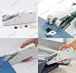 PETRICE Sewing Machine Professional Handheld - Quick Stitch Tool for Fabric, Clothing, or Kids Cloth - Great for Traveling or use in Home (Batteries Not Provided)