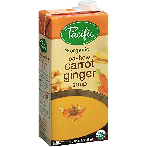 Pacific Natural Foods Soup, Cashew Carrot Ginger, 32-Ounce Cartons (Pack of 12)