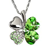 51wN2e9LEvL. SL160  18k Gold Plated Swarovski Crystal Heart Shaped Four Leaf Clover Pendant Necklace   Peridot Green