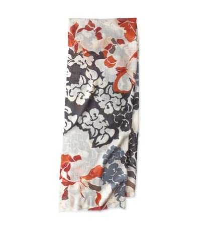 Saachi Women's Frozen Flowers Scarf, Ivory/Black, One Size As You See