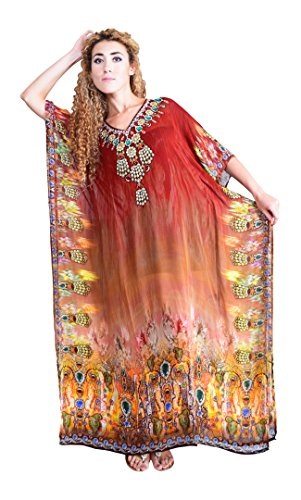 Red Bayside Women Georgette V-Neck Red\/Maroon Kaftan (Multicolor)
