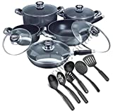 CONCORD 16 PIECES NON-STICK BLACK comprehensive COOKWARE PAN POT CASSEROLE WOK SET tumbler eye lid together with KITCHEN baking UTENSILS
