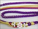 振袖成人式&着物に パール飾り付3色使いの帯締め帯〆紫