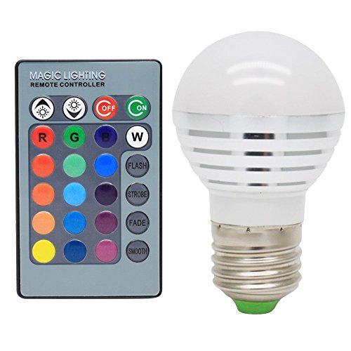 E27 3W LED RGB Dimmbar Licht Birne Farbwechsel Lampe Leuchtmittel mit IR-Fernbedienung AC85-265V,16 Farben zur Wahl ,120° Abstrahlwinkel