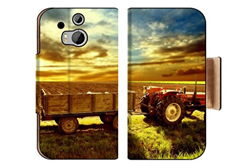 Landscape Country Tractor Cornfield Sky Sunset Punktail'S Collections Htc One M8 Flip Case Stand Magnetic Cover Made To Order Pu Leather