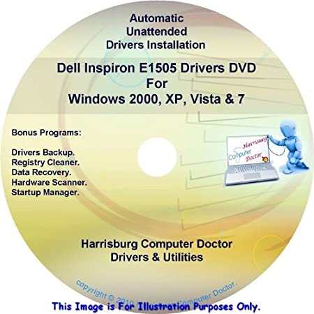 Dell Inspiron E1505 Drivers DVD Disc - Windows, XP, Vista and 7 Driver Kits - Automatic Drivers Installation.