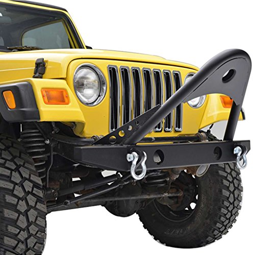E-Autogrilles YJ TJ Black Textured Off Road Jeep Wrangler Front Bumper with Stinger