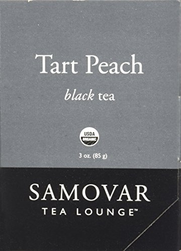Samovar Tea Lounge Organic Black Tea, Tart Peach, 3 Ounce