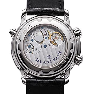 Blancpain Leman Reveil GMT Mens Black Strap Silver Dial 18K White Gold Automatic 2nd Time Zone Alarm Watch 2041-1542M-53B