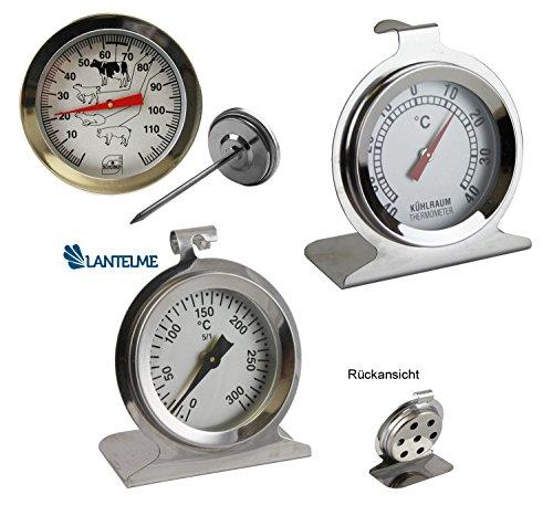 3 tlg. Küchenthermometer Set mit Backofenthermometer