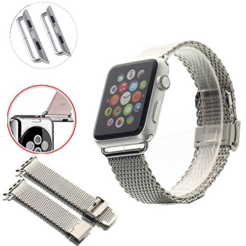 Apple Watch Band with Metal Clasp, PandawelL™ 38mm Stainless Steel Replacement Watchband Strap Wrist Band for 38mm Apple Watch & Sport & Edition [Compare to Classic Buckle & Modern Buckle] (38mm-Silve