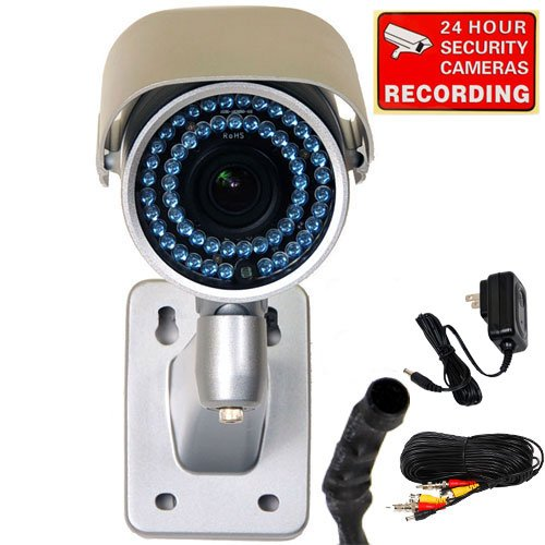 VideoSecu Day Night Vision Outdoor CCD Security Camera Infrared High Resolution Weatherproof 3.5-8mm Varifocal Lens 54 Infrared IR LEDs with Audio Microphone, 50ft Cable, Power Supply and Warning Decal WA4