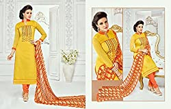 Snapyshopy Graceful Yellow Colord Emboidered Work Cotton Straigth Suit