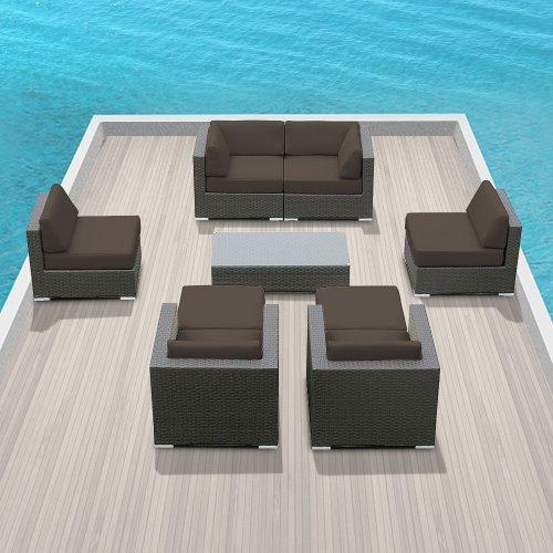 Genuine Luxxella Outdoor Patio Wicker Sofa Sectional Furniture Venus 9Pc Gorgeous Couch Set (Dark Grey)