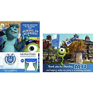 Monsters Inc. Invitation & Thank You (16 Count)