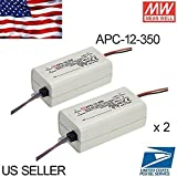 2PCS 350mA Single Output LED Driver - Mean Well LED Power Supply APC-12-350 12Watt