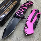 TAC-FORCE Spring Assisted Pink Tiger Zebra Stripe Camping Hunting Tactical Knife