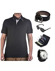 Garushi Black T-Shirt With Watch Belt Sunglasses Cardholder - B00YMLUXTQ