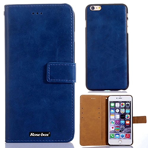 RoseBox® iPhone 6 Plus Case Apple iPhone 6 Plus Case 5.5 Inch Leather Case Fashion Luxury Designer PU Leather cell phone Holster combo dual-use Flip Case Cover with Credit Card Holder Slots Fit For Apple iPhone 6 Plus 5.5 Inch (Deep Blue crazy-horse leather )