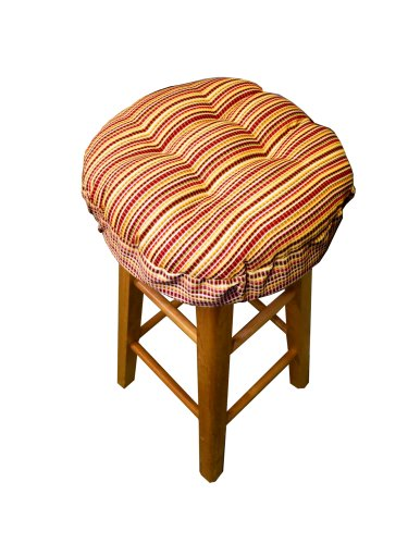 "13"" Round Indoor / Outdoor Barstool Cushion With Drawstring Yoke - Atwood Windowpane Micro-Plaid Fiesta Colors - Standard 13"" - Latex Foam Fill Bar Stool Pad (13"") back-596712"