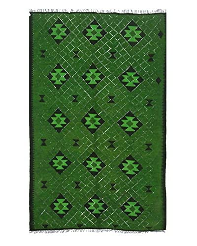 nuLOOM One-of-a-Kind Hand-Knotted Vintage Overdyed Kilim Rug, Green, 4' 11 x 8' As You See