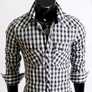 Stylish Unique Mens Casual Slim fit Dress Shirts Black Check Large