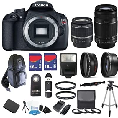 Canon EOS Rebel T5 18 MP CMOS Digital SLR Full HD Video Body with EF-S 18-55mm IS II Lens & EF-S 55-250mm IS II Lens with 32GB Deluxe Accessory Bundle