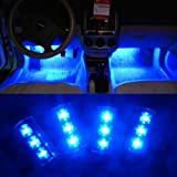 Susenstore 4 X 3led Car Charge 12v Glow Interior Decorative 4in1 Atmosphere Light Lamp