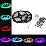 XKTTSUEERCRR 32.8Ft 600LED(Two Rolls) 5050 SMD Waterproof Flexible Multicolor RGB LED Light Strip For Decoration + 44 Key Remote Controller