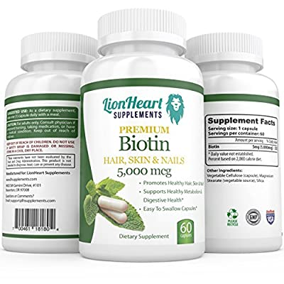 #1 Best Pure Extra Strength Biotin for Fast Hair Growth for Women Healthy Skin and Nail Supplement - 60 Veggie Capsules for Better Absorption in Each Bottle - Supports Hair Regrowth Glowing Skin Strong Nails High Potency - Reduce Hair Loss Slow Down Aging