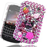 JJOnline Diamond Barbie Flower Series - Hard Shell Phone Case Cover For BlackBerry Curve 9360 Including LCD Screen Film Protector And Micro Fiber Polishing Cloth / Hot Pink