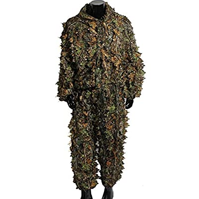 OUTERDO 3D Leafy Ghillie Suit Woodland Camo Camouflage Clothing jungle Hunting Free Size