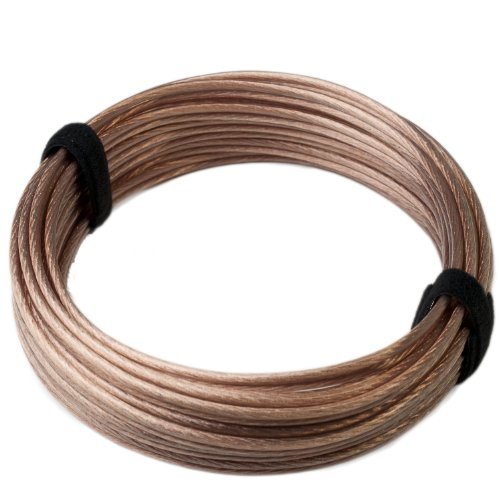 HiFi Lautsprecherkabel transparent - 2x4mm² - 20m Ring - OFC - Vollkupfer - Made in Germany - incl. 2 Klett Kabelbinder - 2,18/m