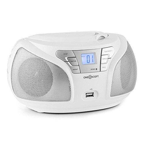 oneConcept-Groovie-WH-mobile-Bluetooth-Boombox-CD-Radio-mit-USB-UKW-Tuner-AUX-MP3-fhiger-USB-Slot-CD-Player-Tragegriff-Netz-und-Akku-Betrieb-wei