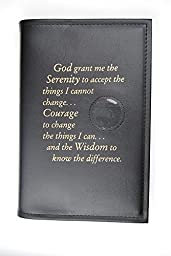 Alcoholics Anonymous AA Big Book Cover Serenity Prayer & Medallion Holder Black