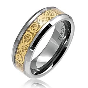 Bling Jewelry Tungsten 8 mm Comfort Fit Flat Wedding Band Ring Celtic Dragon Gold Inlay Size 10