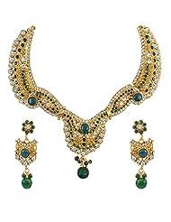 Aakshi Bridal Luxury In Pearl Pal Mino Emerald Green Jewellery Set