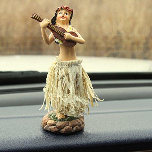 "Dashboard Hula Doll Natural Skirt Hawaii Girl Lei Aloha Dancing Ukulele 5"""